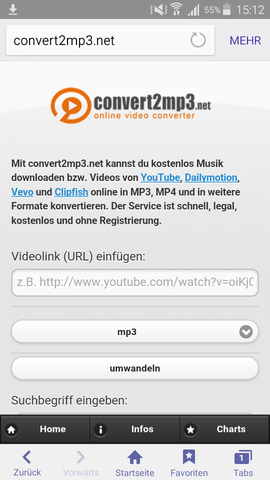 Funktioniert sehr gut ...  - (Youtube, yabeat, convert2mp3)
