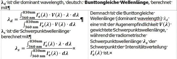 Formeln zur Berechnung der bunttongleichen Wellenlänge. - (Schule, Physik, Chemie)