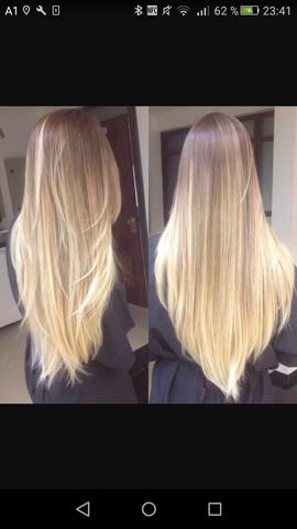 - (Haare, färben, Braun blond übergang)