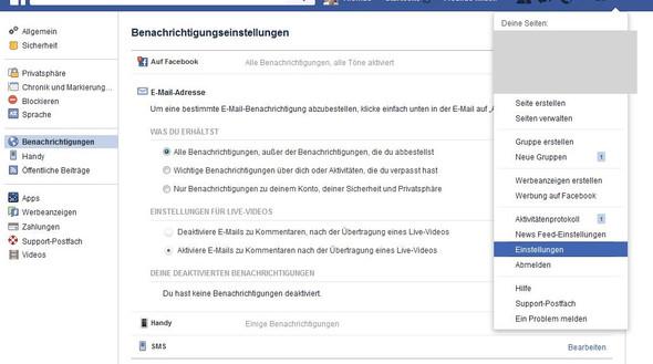 EInstellungen - (Facebook, benachrichtigung)