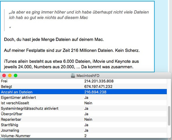 Festplattendienstprogramm, Info, Anzahl der Dateien - (Internet, Apple, Virus)