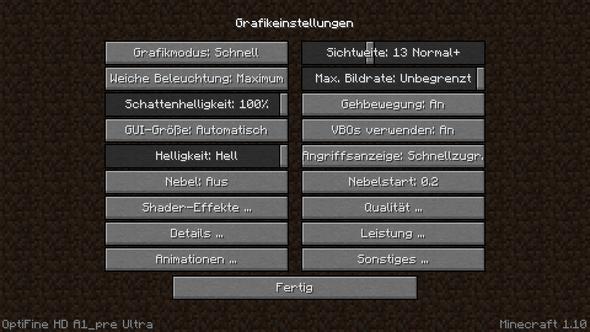 Hinzugefügtes Optifine Modul für Grafik - (Minecraft)