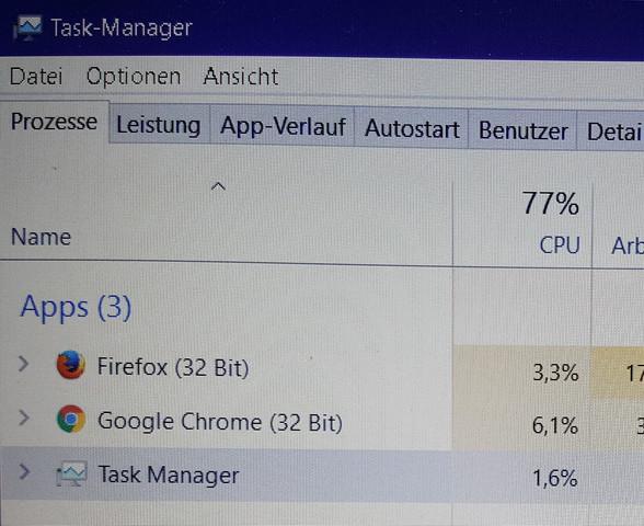 Unter Apps - (google-chrome, Taskmanager)