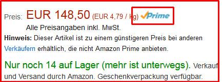 das muss neben dem Preis stehen.  - (Amazon, Prime)
