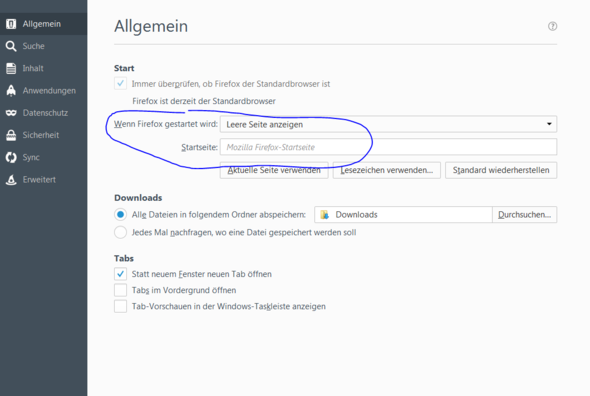 firefox browser settings - (Suchmaschine, AVAST Search)