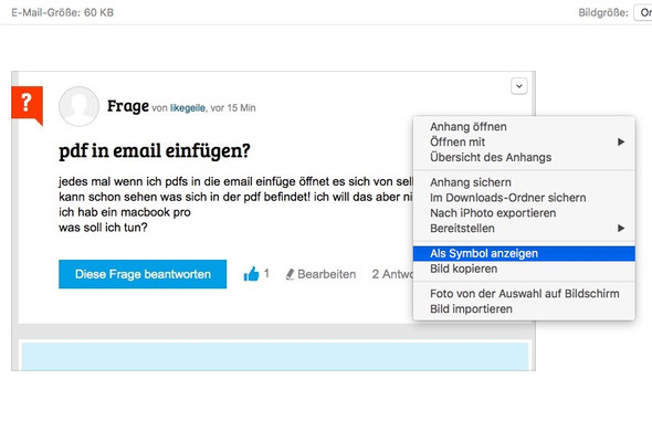 OS X, Mail, Anhang als Symbol anzeigen - (Macbook, Email, PDF)