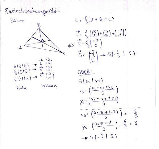 wie berechnet man den schwerpunkt von einem dreieck mathematik rechnen vektoren. Black Bedroom Furniture Sets. Home Design Ideas