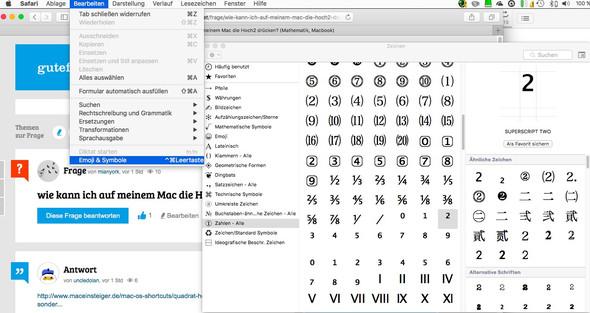 wie kann ich auf meinem mac die hoch2 dr cken mathematik macbook. Black Bedroom Furniture Sets. Home Design Ideas
