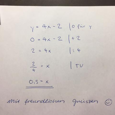 Rechnungsweg - (Nullstellen, Linear)