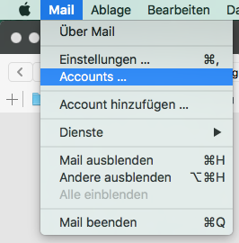 """Klicke auf """"Mail"""" --> """"Accounts"""". - (Email, Outlook, Mac OS)"""