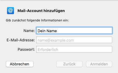 Tippe Deine vollständige E-Mail-Adresse + Passwort ein. Fertig! - (Email, Outlook, Mac OS)