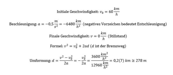 - (Physik, Aufgabe, Bremsweg)