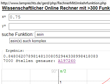 über 7000 Stellen von asin(0.75) - (Mathematik, Sinusfunktion)
