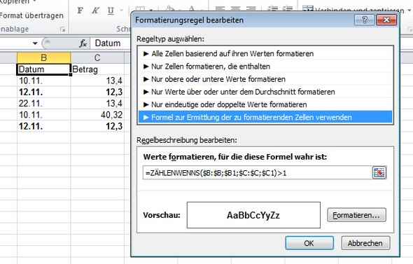 - (Excel, finden, doppelt)