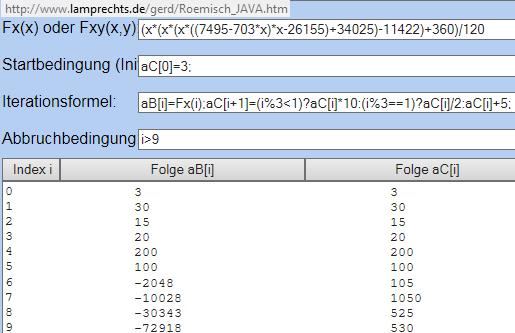 Iterationsrechner mit Wertetabelle - (Mathematik, Zahlenfolgen)