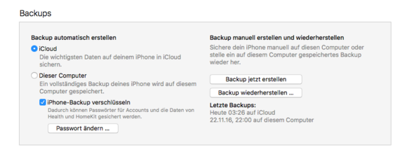 - (iPhone, iTunes, Backup)