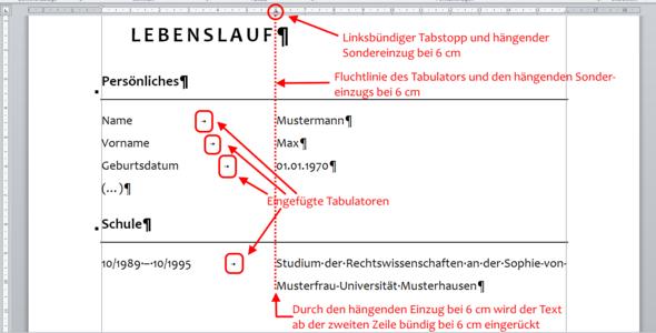 Wie Kann Ich Bei Microsoft Word Einen Tabellarischen Lebenslauf
