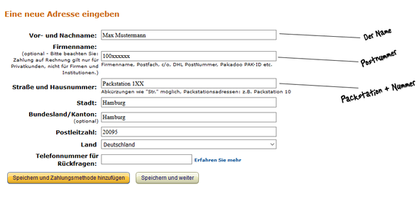 AMAZON BESTELLUNG PACKSTATION