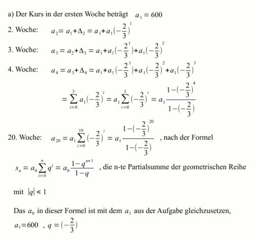 Aufgabe zur Kursberechnung - (Mathematik, Gymnasium)
