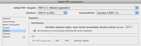 Export der Schriften - (Software, Schrift, inDesign)