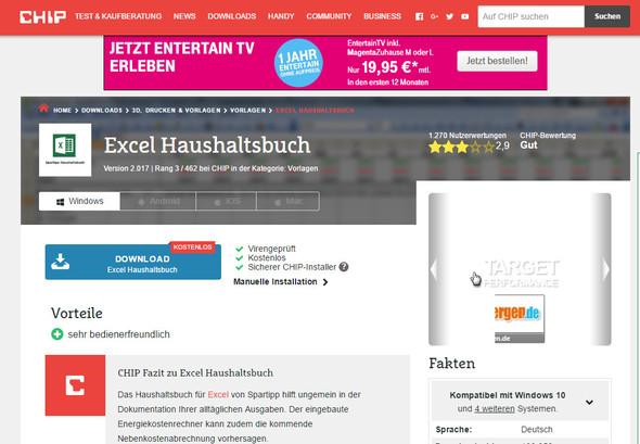 zu finden unter: http://www.chip.de/downloads/Excel-Haushaltsbuch_64973937.html - (PC, Excel)