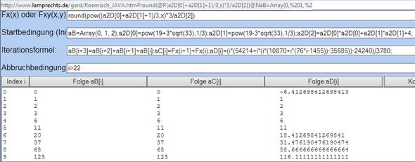 Tribonacci-Folge per Iterationsrechner rekursiv und explizit - (Mathe, Mathematik, Zahlen)