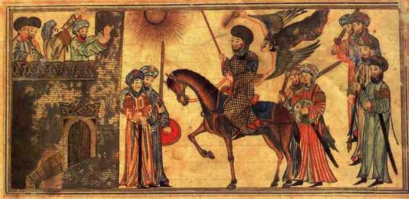 Der Prophet Mohammed (zu Pferde) unterwirft die Banu Nadir (14. Jahrhundert). - (Religion, Islam)