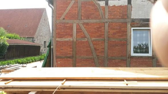 - (Holz, Hausbau, holzfachwerk)