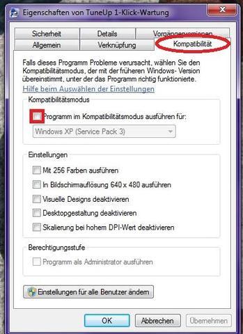 sos sieht das Fenster aus: - (Computer, Windows 7, Kompatibilität)