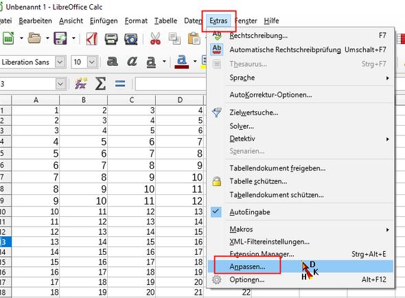 Excel (*.xls) Datei in LibreOffice öffnen. Größen bzw. Format ...