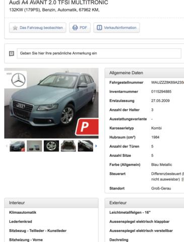 Suche Audi A4 Avant Wichtige Merkmale Beim Gebraucht Kauf