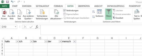 Mit Filter - (Excel, Tabelle, Überschrift)