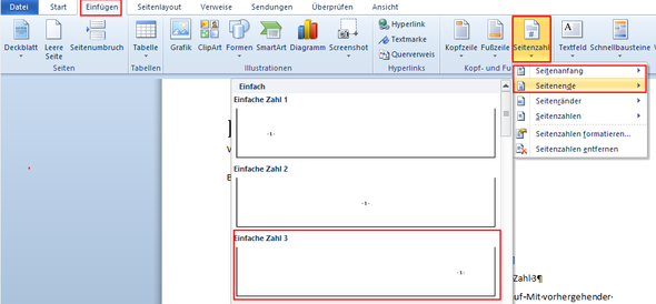 Word Seitennummerierung Nach Deckblatt Inhaltsverzeichnis Computer
