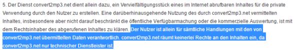 Auszug aus den Conver2mp3 Nutzungsbedingungen - (Musik, konvertieren, legal oder illegal)