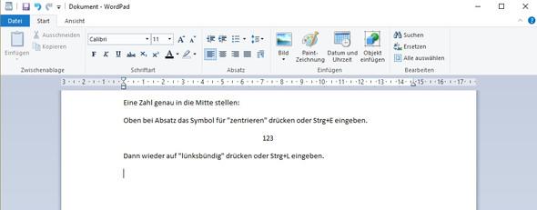wordpad - (Open Office, Zahl in Mitte)
