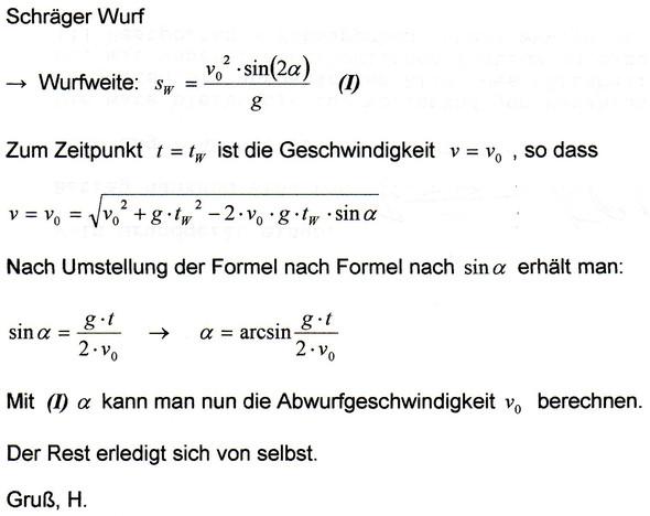 - (Physik, schiefer-wurf)