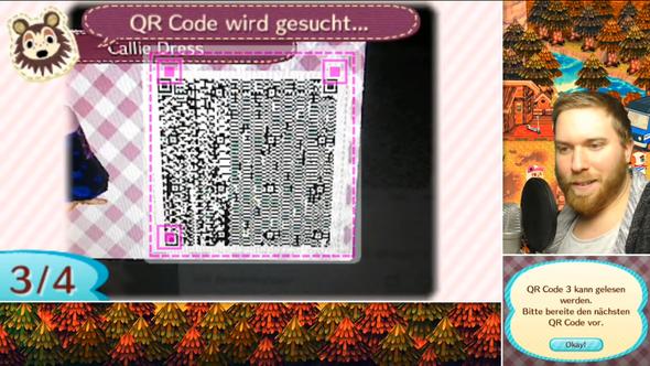 Das Kleid ist ja englisch und untern sieht man dass der 3DS deutsch ist! - (animal crossing newleaf, Deutsche QR codes)
