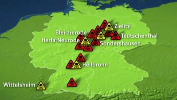 Karte der BRD-Endlager für chem. Abfälle (Quarks und Co) - (Schule, Zeitungsartikel, Atommüll)