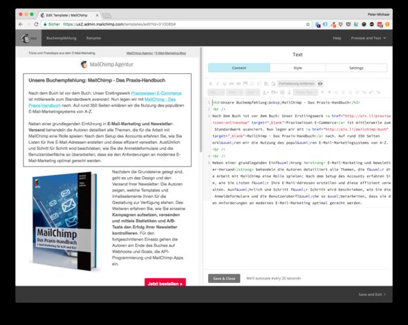 Alternativ über Inline-CSS - (Informatik, Mailchimp)