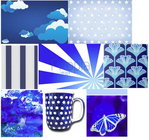 blau-weiße Motive - (Englisch, Kunst, Sprüche)