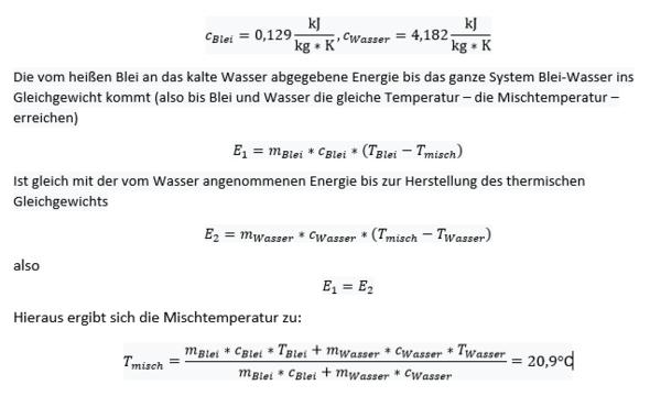 Mischungstemperatur-Fehler des Lehrers? (Schule, Physik)