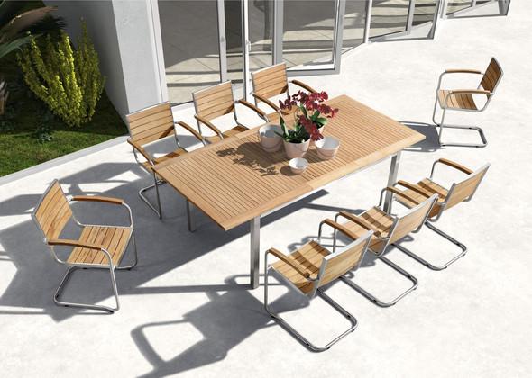 Esstisch aus Edelstahl und Teak Holz für innen und aussen - (Freizeit, Garten, Handwerk)
