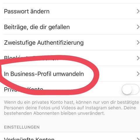 "1. Geh auf ""In Business-Profil umwandeln"" - (Video, Bilder, instagram)"