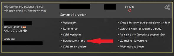 Meine Dienste / Game-Server / Rechteverwaltung - (Minecraft, nitrado)