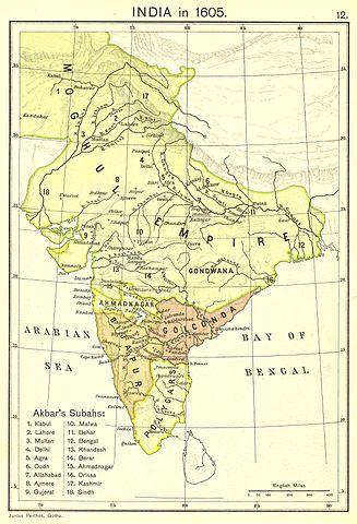 Das Mogulreich im Jahr 1605 (Wikimedia Commons; gemeinfrei) - (Geschichte, Länder, macht)