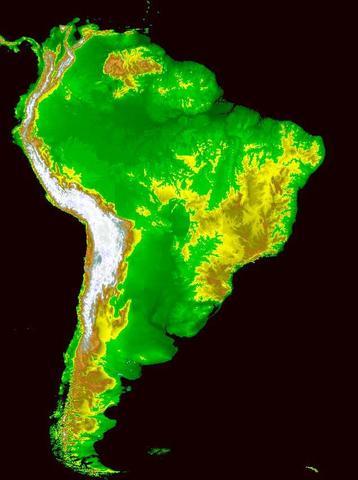 Topographie Südamerika - (Erdkunde, Südamerika, gebirge)