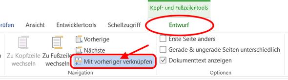 """Bild 4: Der Befehl """"Mit vorheriger verknüpfen"""" - (Microsoft, Word, word 2016)"""
