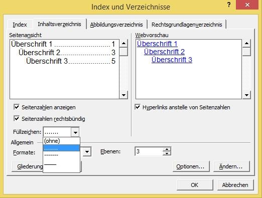 Word_Index u. Verzeichnisse - (Word, Inhaltsverzeichnis)