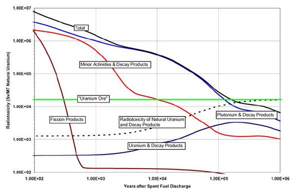 Radiogiftigkeit abgebrannter Brennelemente über der Zeit - (Physik, Atommüll)