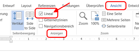 Das Lineal anzeigen lassen - (PC, Word)